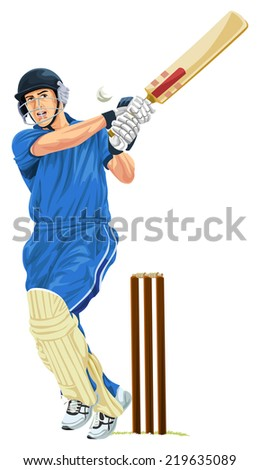 Vector illustration of cricket batsmen playing shot. - stock vector