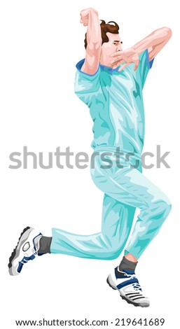 Vector illustration of cricket bowler in action. - stock vector