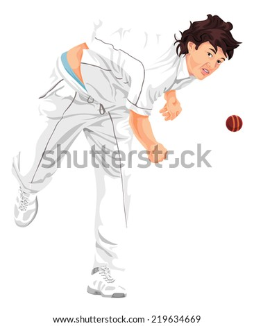 Vector illustration of cricket bowler propelling the ball. - stock vector