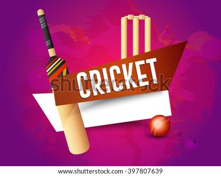 Vector illustration of cricket with shiny cricket ball and bat. - stock vector