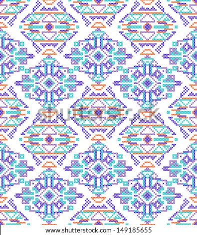vector illustration of cross-stitch seamless pattern.Hand-made ...
