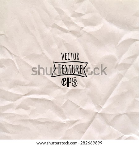 Vector illustration of crumpled paper. Paper background. Simple texture of the old paper. - stock vector