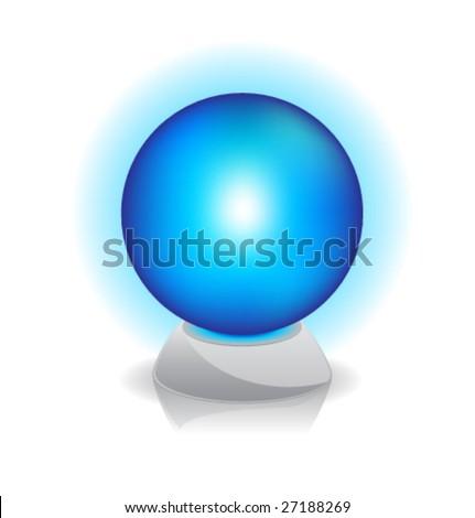 Vector illustration of Crystal magic ball. Blue. - stock vector