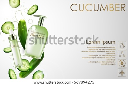 Vector illustration of Cucumber whitening hydrating cream contained in green spray bottle on white background