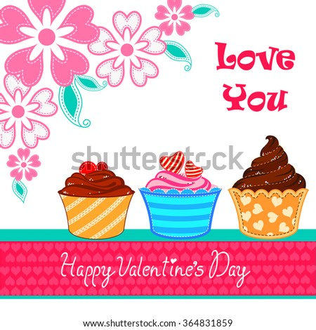 vector illustration of cup cake in love Valentine's Day background - stock vector