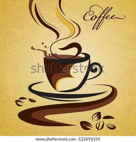 vector illustration of cup of hot coffee against grungy background - stock vector