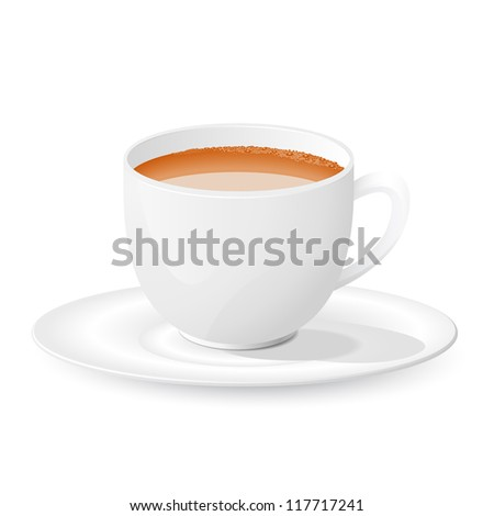 vector illustration of cup of tea against white - stock vector