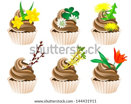 Vector illustration of cupcakes with spring flowers - stock vector