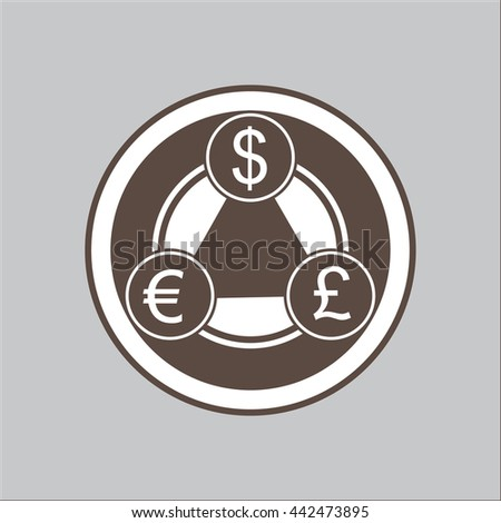 Vector illustration of currency transmutation circle. Trade of Pound to Dollar to Euro. - stock vector