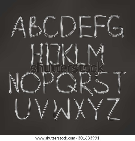 vector illustration of cursive alphabet on a dark background