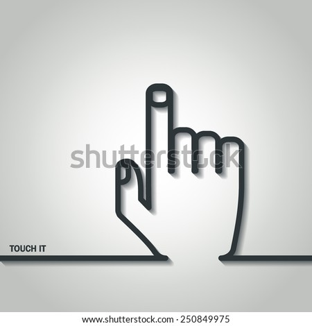 Vector Illustration of Cursor Hand Touch Outline for Design, Website, Background, Banner. Logo Element Template for Buy Per Click - stock vector