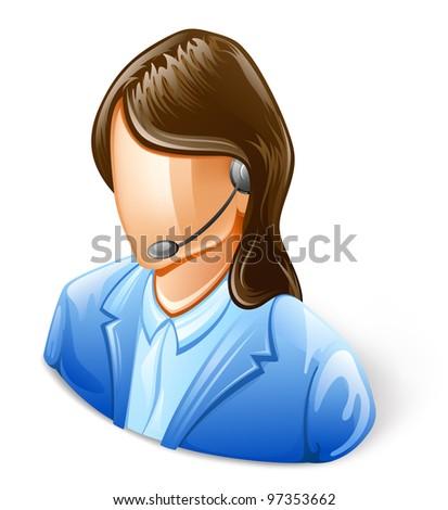 Vector illustration of Customer Service Representative on white background. - stock vector