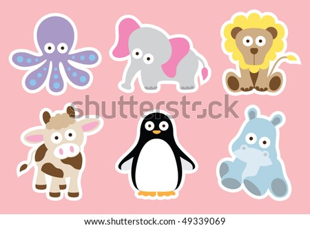 Vector illustration of cute animal characters. White strokes are on separate layer so they can be removed easily. - stock vector