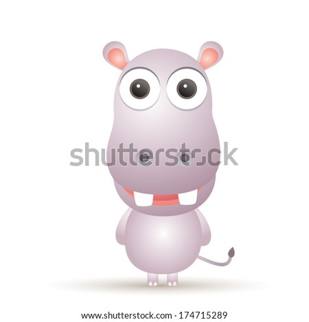 Vector illustration of cute animal, hippo