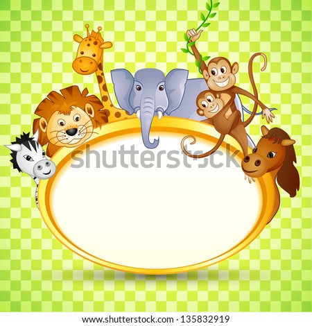 vector illustration of cute animal in baby shower invitation - stock vector