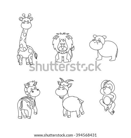 Vector illustration of cute animal set including giraffe, lion, Hippo, Zebra, Goat and Monkey. - stock vector