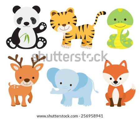 Vector illustration of cute animal set including panda, tiger, deer, elephant, fox, and snake. - stock vector