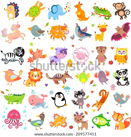 Vector illustration of cute animals and birds: quail, giraffe, vampire bat, cow, sheep, bear, owl, whale, panda, lion, fox, quail, tiger, turtle, kangaroo, monkey, jellyfish, unicorn, numbat, jungle - stock vector
