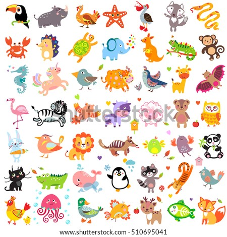 Vector illustration of cute animals and birds set: rhinoceros, turkey, wolf, pelican, fox, whale, unicorn, bull, sea horse, lion, penguin, raccoon, cat, panther, jellyfish, crocodile, duck, panda, owl