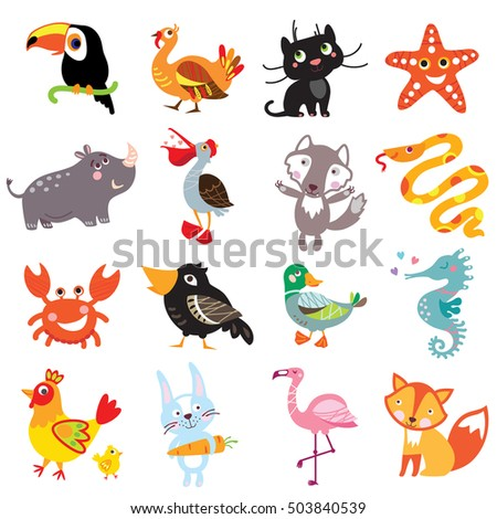 Vector illustration of cute animals and birds set: toucan, turkey, panther, cat, starfish, rhinoceros, pelican, wolf, boa constrictor, crab, crow, duck, sea horse, rooster, hare, rabbit, flamingo, fox
