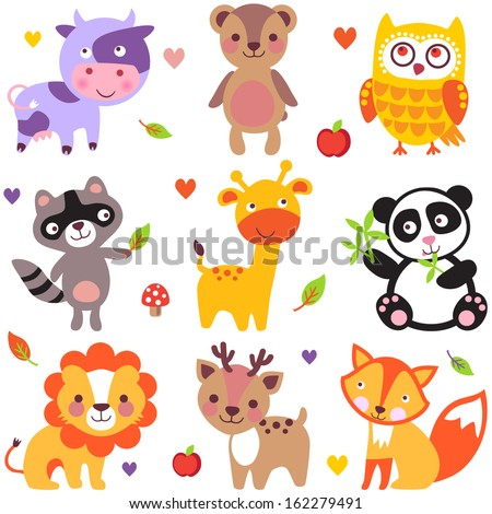 Vector illustration of cute animals: cow, bear, owl, raccoon, giraffe, panda, lion, deer and fox. - stock vector