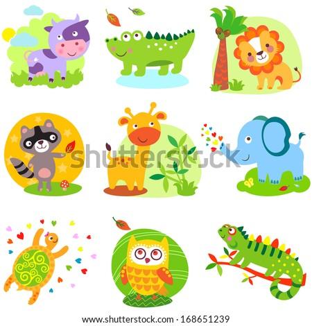 Vector illustration of cute animals: cow, crocodile, alligator, lion, raccoon, giraffe, elephant, cherpaha, owl, iguana - stock vector