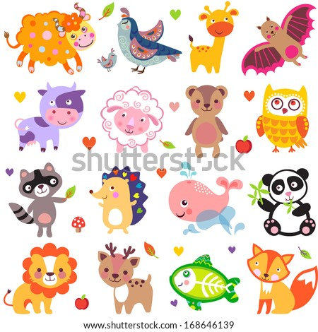 Vector illustration of cute animals: Yak, quail, giraffe, vampire bat, cow, sheep, bear, owl, raccoon, hedgehog, whale, panda, lion, deer, x-ray fish, fox. - stock vector