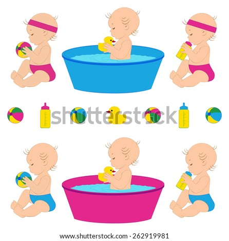Vector illustration of cute babies with different toys. - stock vector