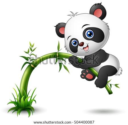 vector illustration cute baby panda tree stock vector