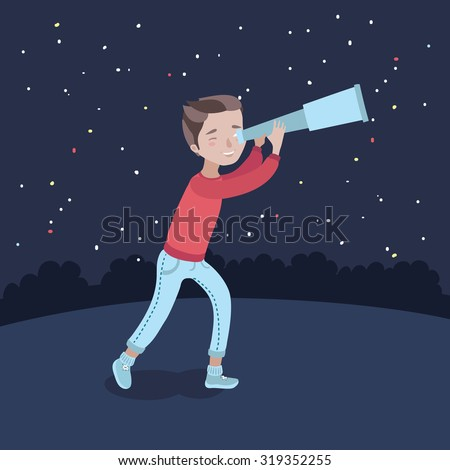 Vector illustration of  cute boy watching through telescope at starry night - stock vector