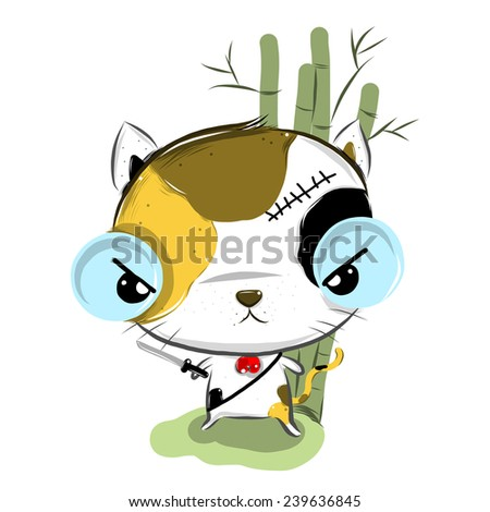 vector illustration of cute  calico cats cartoon drawing style - stock vector