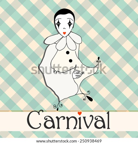 Vector illustration of cute carnival girl - stock vector