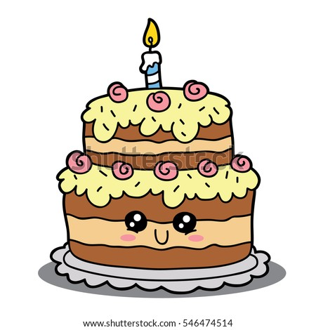vector illustration cute cartoon birthday cake stock vector rh shutterstock com cake cartoon images png cake cartoon images png
