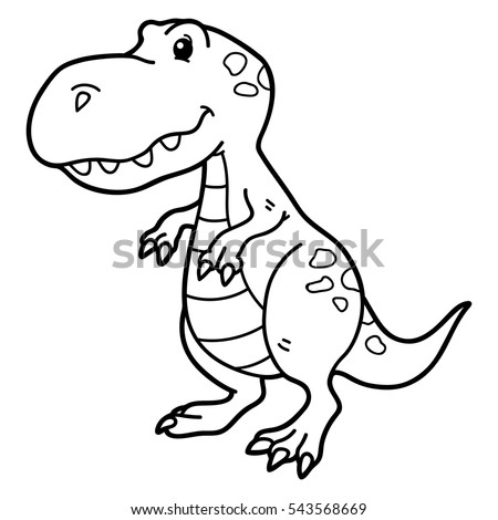 vector illustration of cute cartoon dinosaur character for children coloring