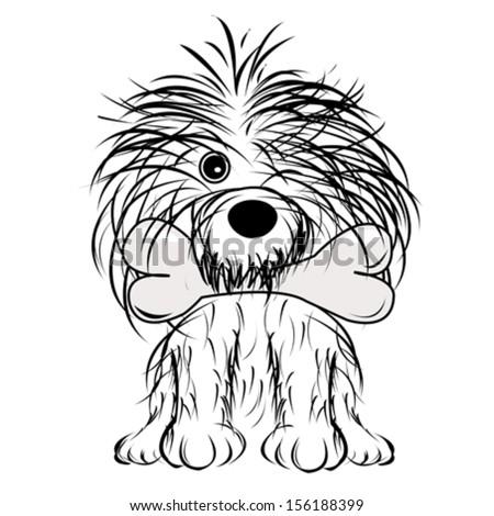 vector illustration of cute cartoon dog - stock vector