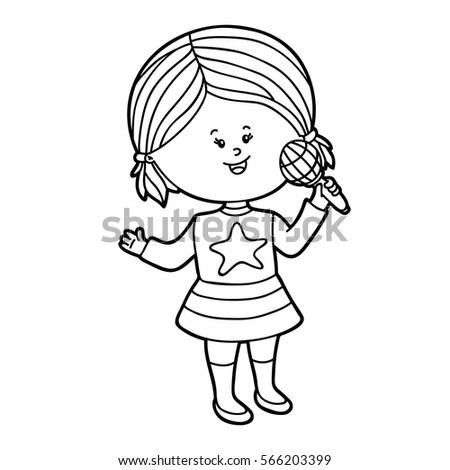 Vector Illustration Of Cute Cartoon Girl Character For Children Coloring Page
