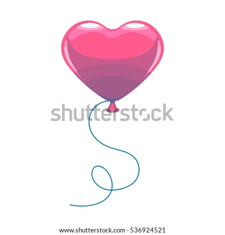 Vector illustration of cute cartoon pink air balloon as heart shape with ribbon isolated on white background. Valentine's Day holiday card. Concept for design party banner, poster, background