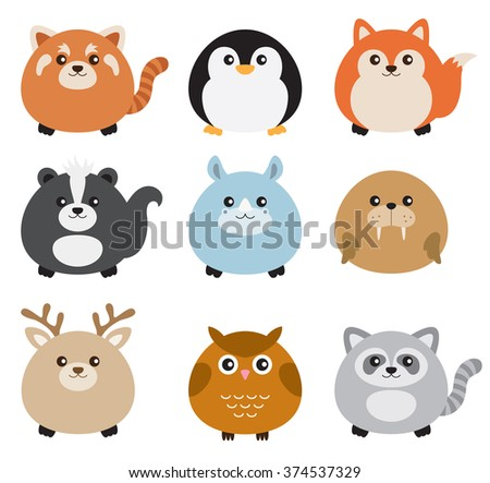Vector illustration of cute chubby animals including red panda, penguin, fox, skunk, rhino, walrus, deer, owl, and raccoon. - stock vector