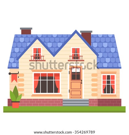 vector illustration of cute colorful house. vector flat buildings illustration
