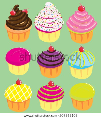 Vector Of Cute Cupcakes Collection In Many Color