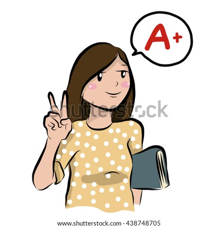 vector illustration of cute cute-girl-good-student cartoon drawing style