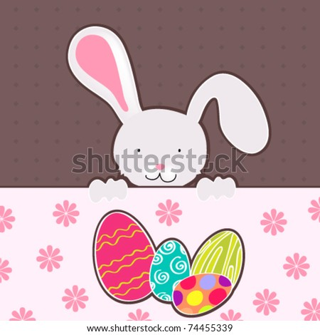 Vector illustration of cute Easter bunny with colorful Easter eggs - stock vector
