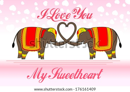 vector illustration of cute elephants forming heart shape - stock vector
