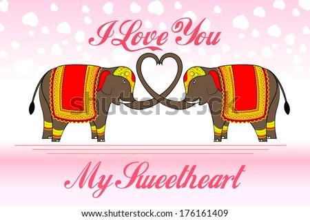 vector illustration of cute elephants forming heart shape - stock vector