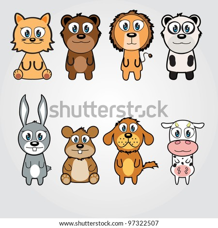 vector illustration of  cute funny  animals - stock vector