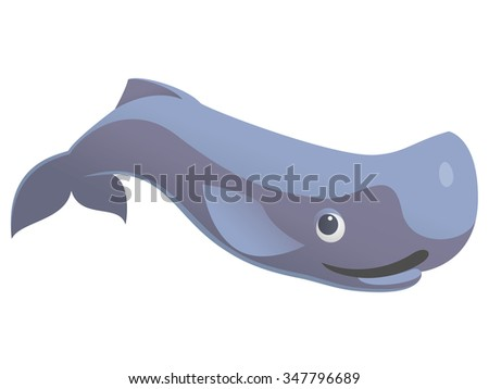 vector illustration of cute funny sperm whale - stock vector