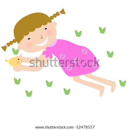 Vector illustration of cute girl and chick
