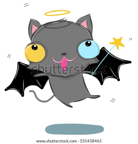 vector illustration of cute gray-cat-fly drawing style