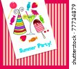 Vector illustration of cute, hand drawn style retro summer party invitation - stock vector