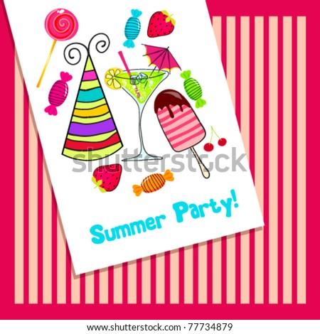 Vector illustration of cute, hand drawn style retro summer party invitation - stock vector